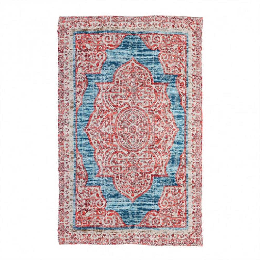 Indoor/Outdoor Rug Red With Turquoise 4\'x6\'