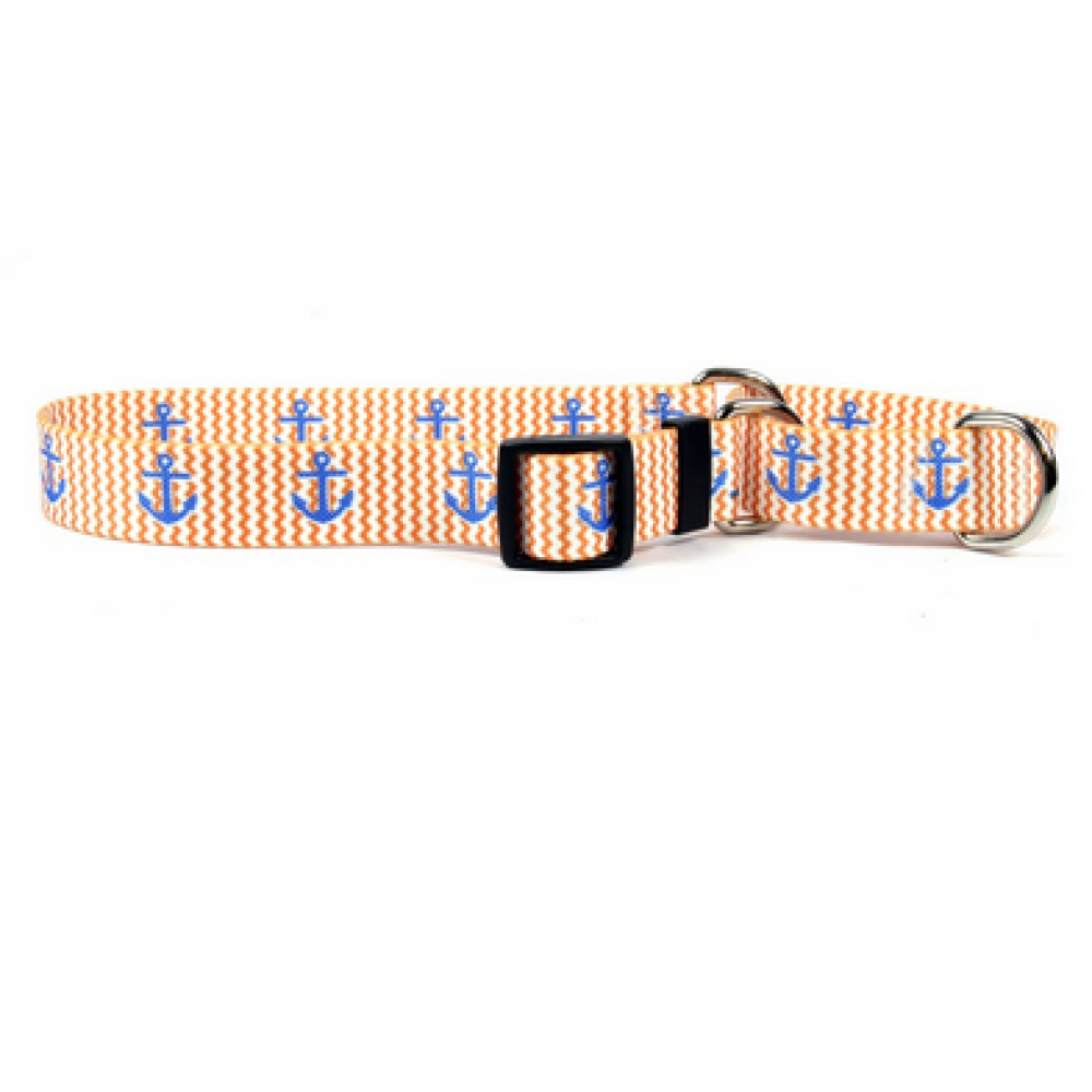 Dog Collar 1in wide Large 18inch-28inch Anchors on Navy