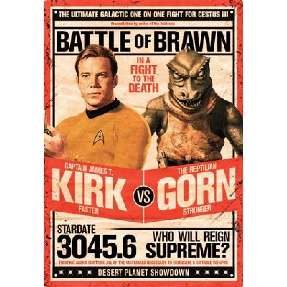 Tin Sign Star Trek Kirk vs Gorn