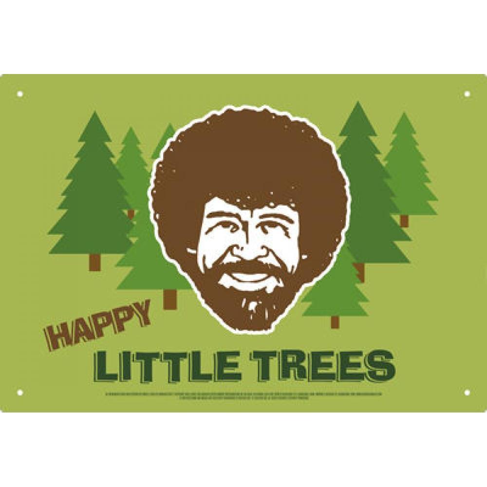 Tin Sign Bob Ross Happy Little Trees