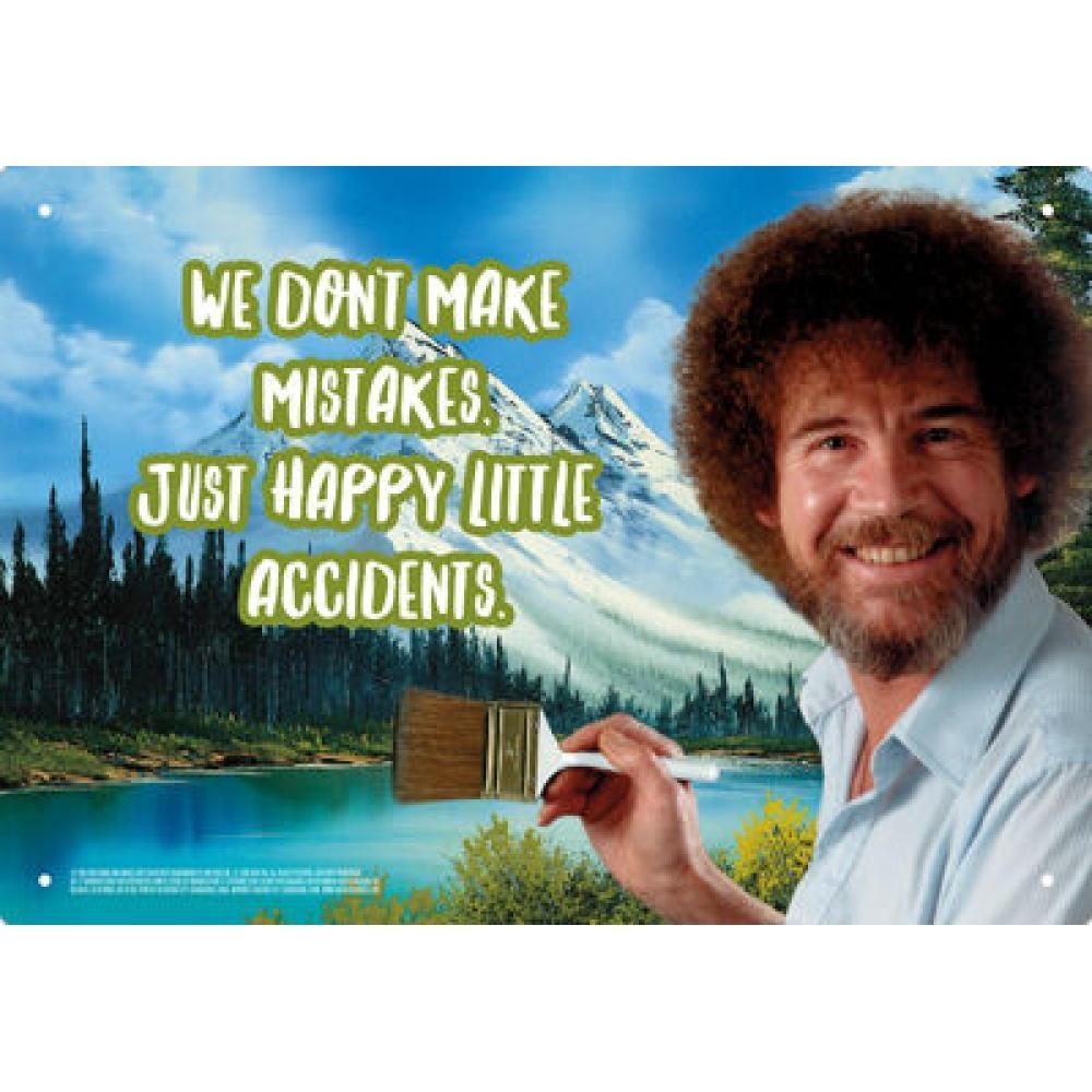 Tin Sign Bob Ross Happy Little Accidents