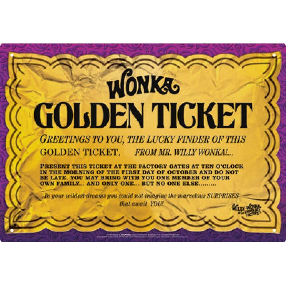 Tin Sign Willy Wonka Golden Ticket