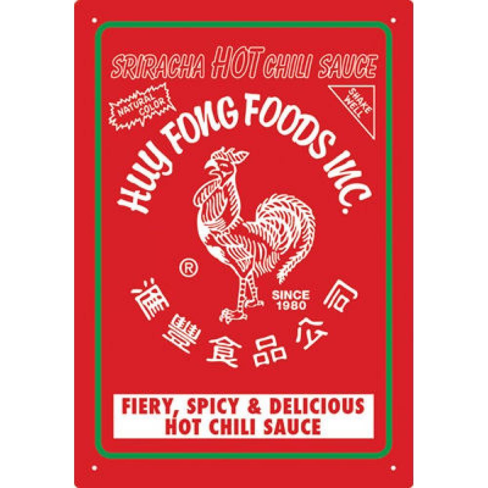 Tin Sign Siracha Hot Chili Sauce