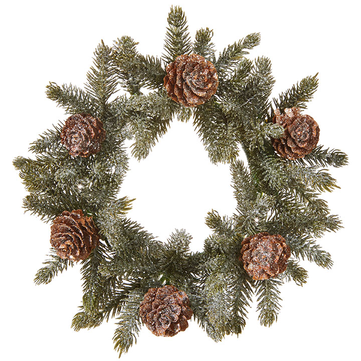 Decor - Iced Pine Candle Ring 7.5in