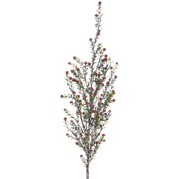 Decor - Snowy Boxwood and Berry Sprigs