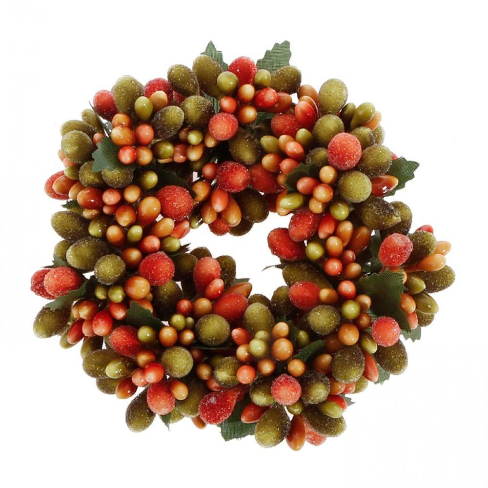 Decor - Beaded Berry Candle Ring 4in