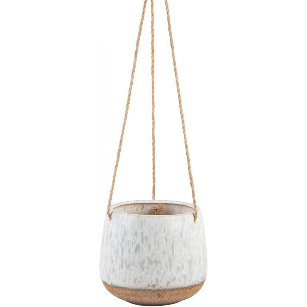 Hanging Planter - Grey Speckled 5.25in H