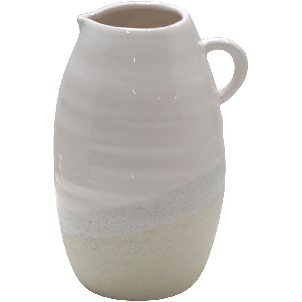 Pitcher White Natural 12inH