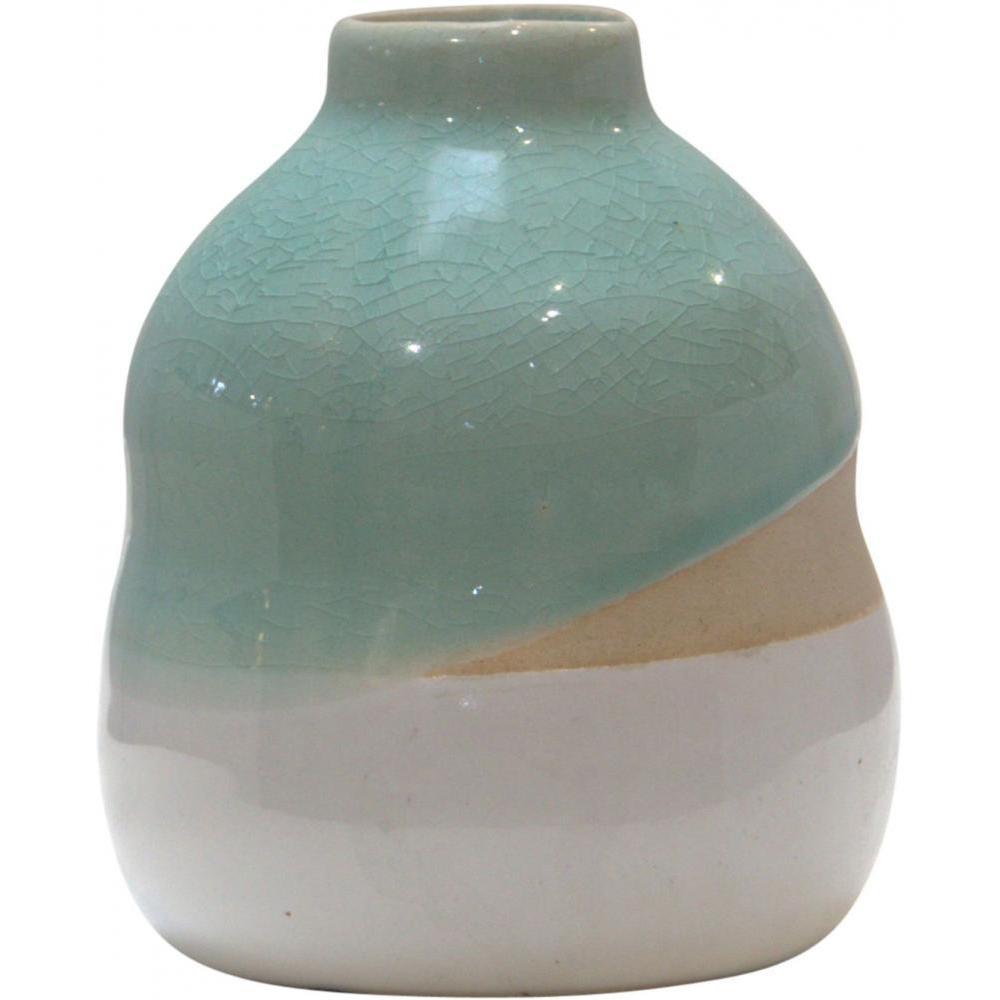 Vase Aqua Crackle 5in High