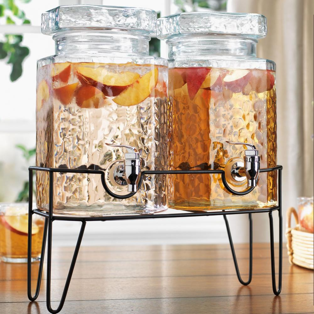 Drink Dispenser Double 1 Gallon Hammered