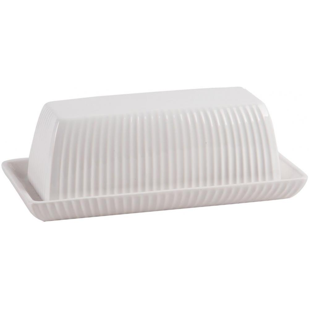 Butter Dish Covered Embossed Stripes 7in L