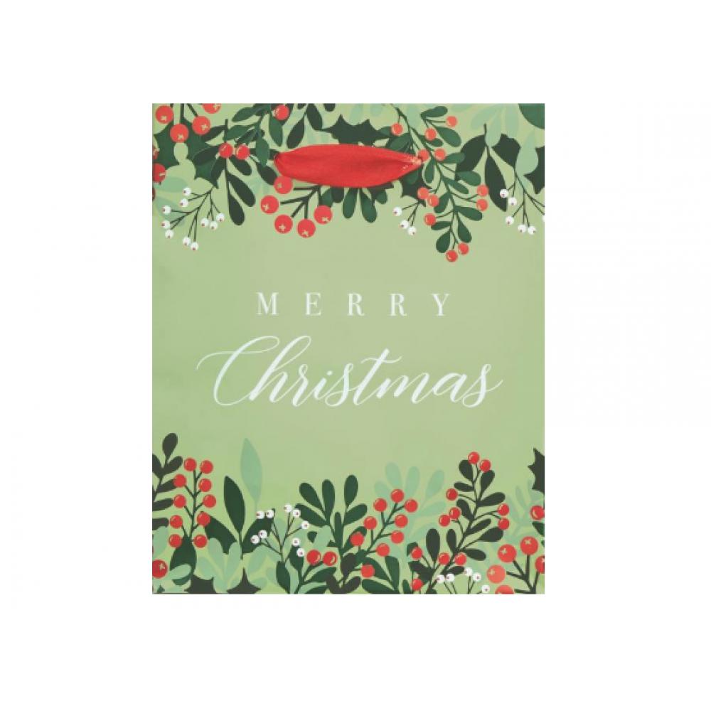 Gift Bag - Christmas Greenery and Berries Medium