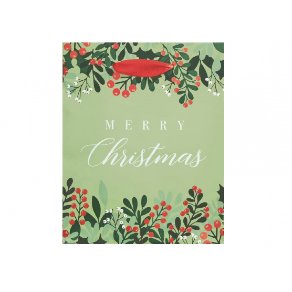 Gift Bag - Christmas Greenery and Berries Small