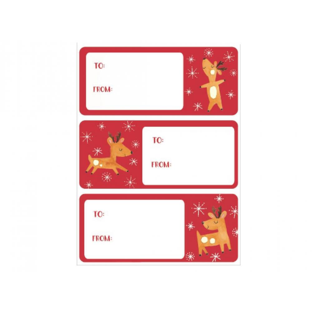 Gift Label - Playful Reindeer