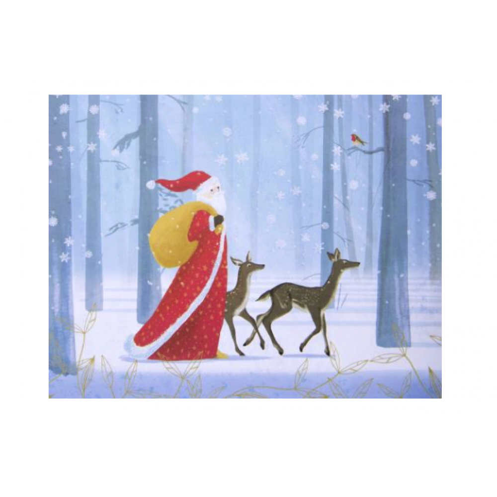 Boxed Card - Christmas - Santa In Snowy Forest