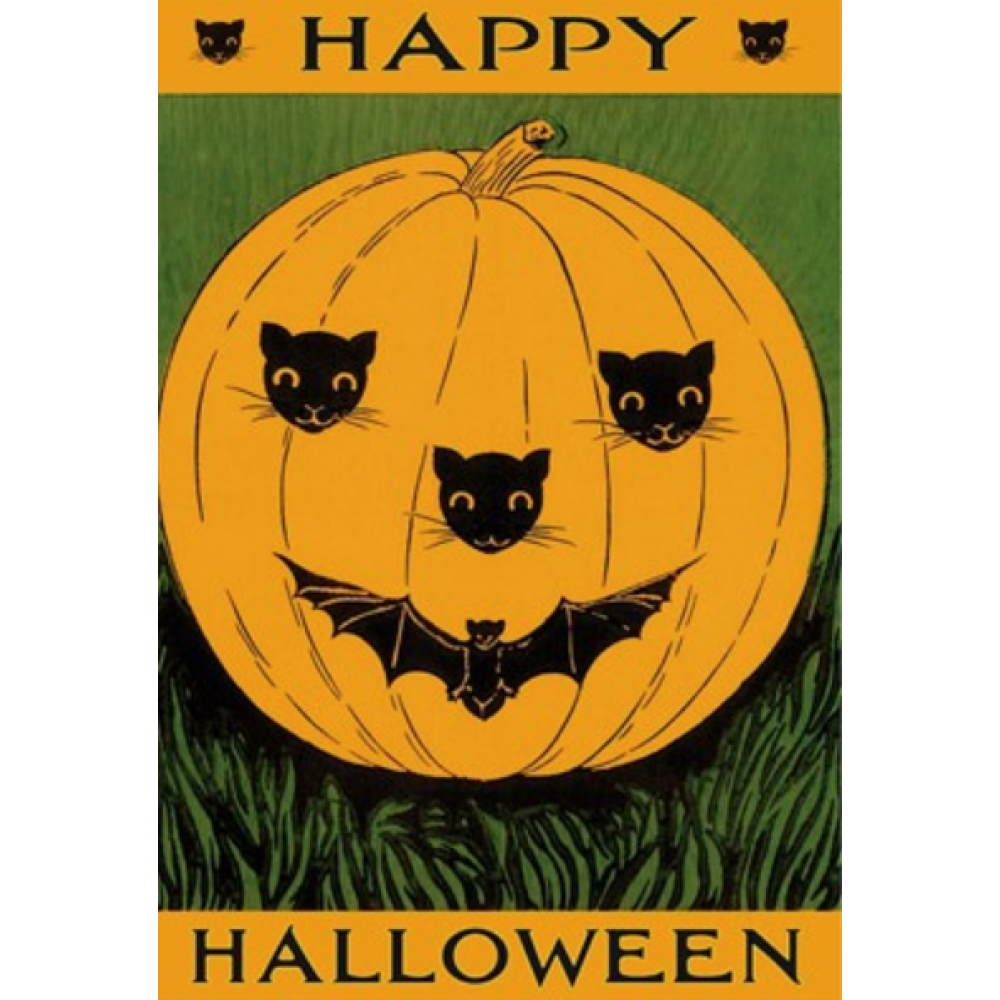 Halloween - Jack O\'Lantern With Cats And Bat