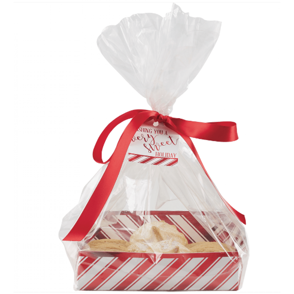 Gift Bag - Candy Cane Cookie Tray & Cello Bag