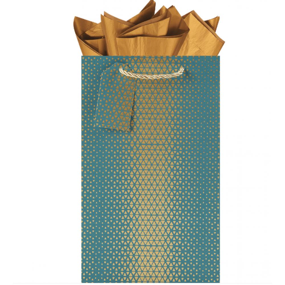Gift Bag - Double Bottle - Golden Geo-Aqua