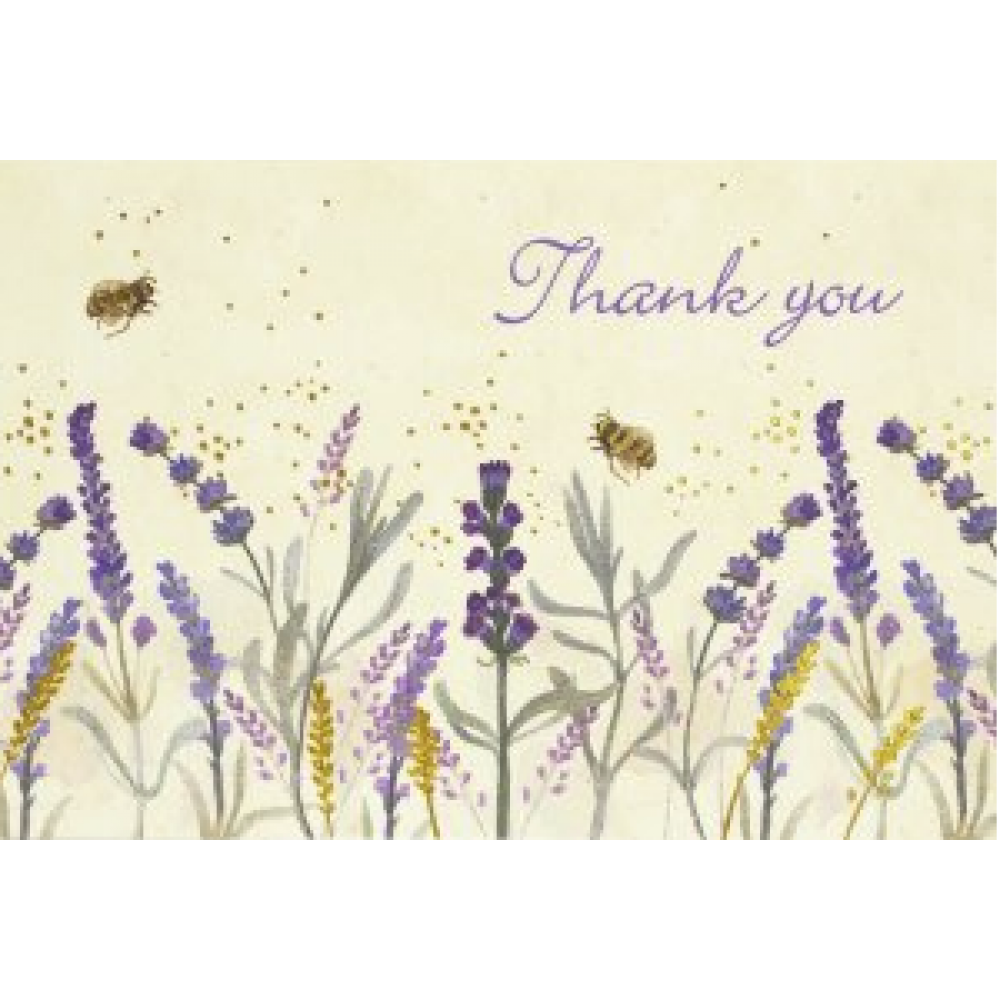 Boxed Card Thank You Lavendar and Honey
