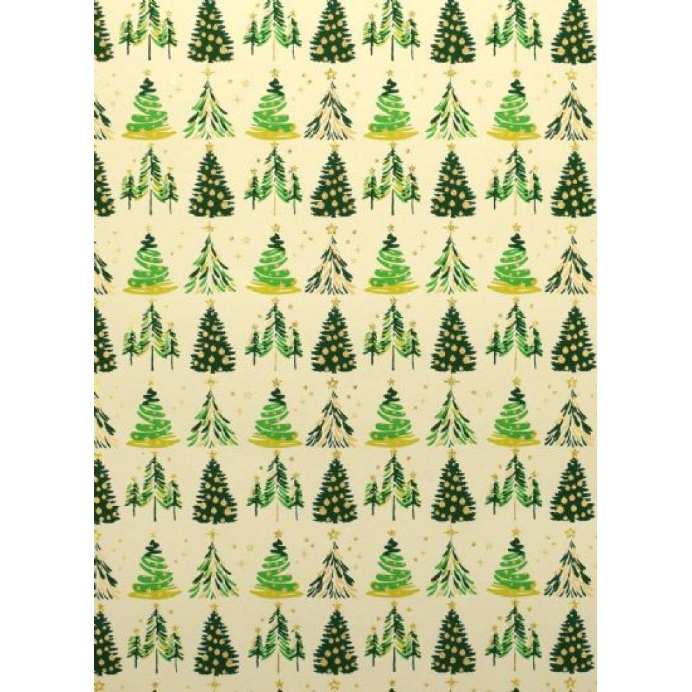 Gift Wrap - Christmas Trees Green