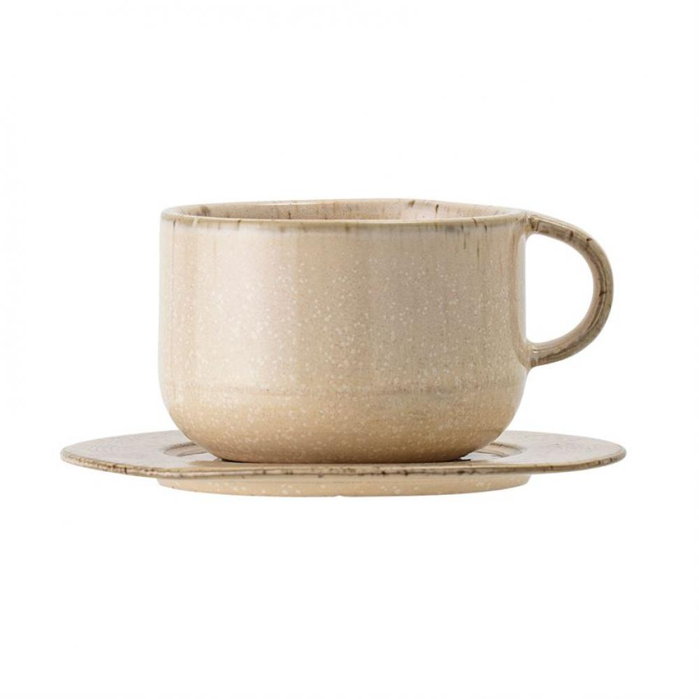 Cup With Saucer Stoneware Speckled Beige