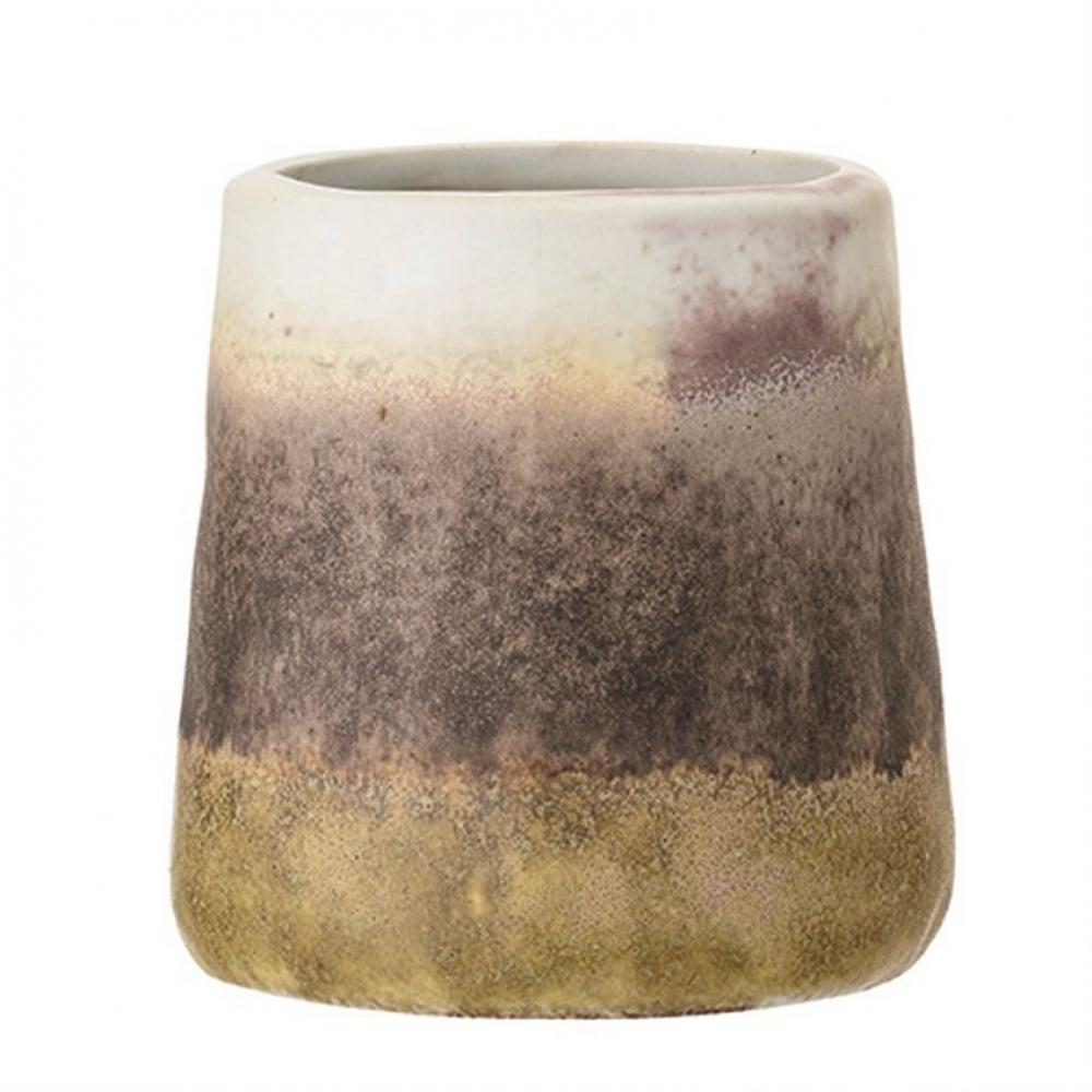 Cup Stoneware Matte Brown Plum & Cream