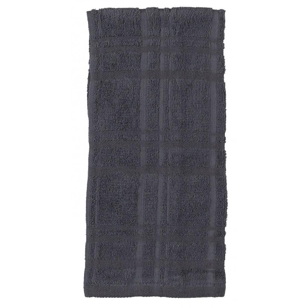 Towel - Terry Solid - Kitchen Basics Charcoal 2 Piece
