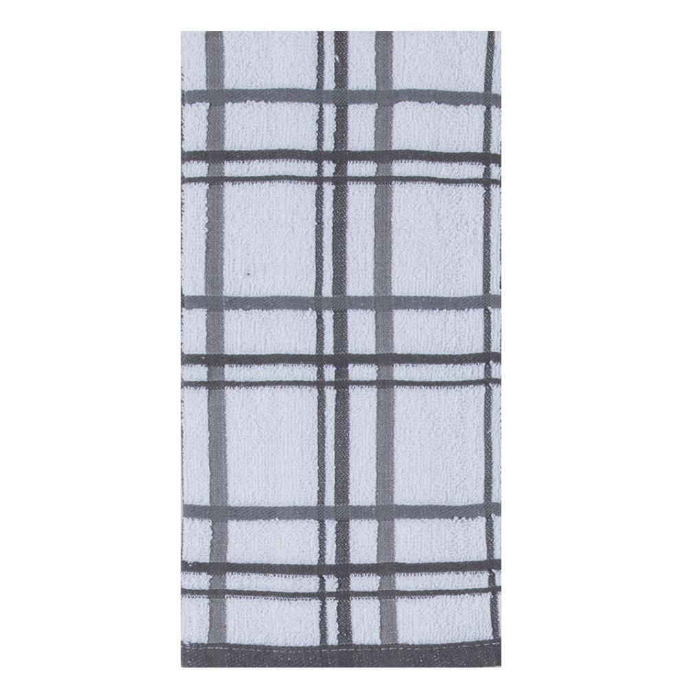 Towel - Terry Windowpane - Charcoal 2 Pk