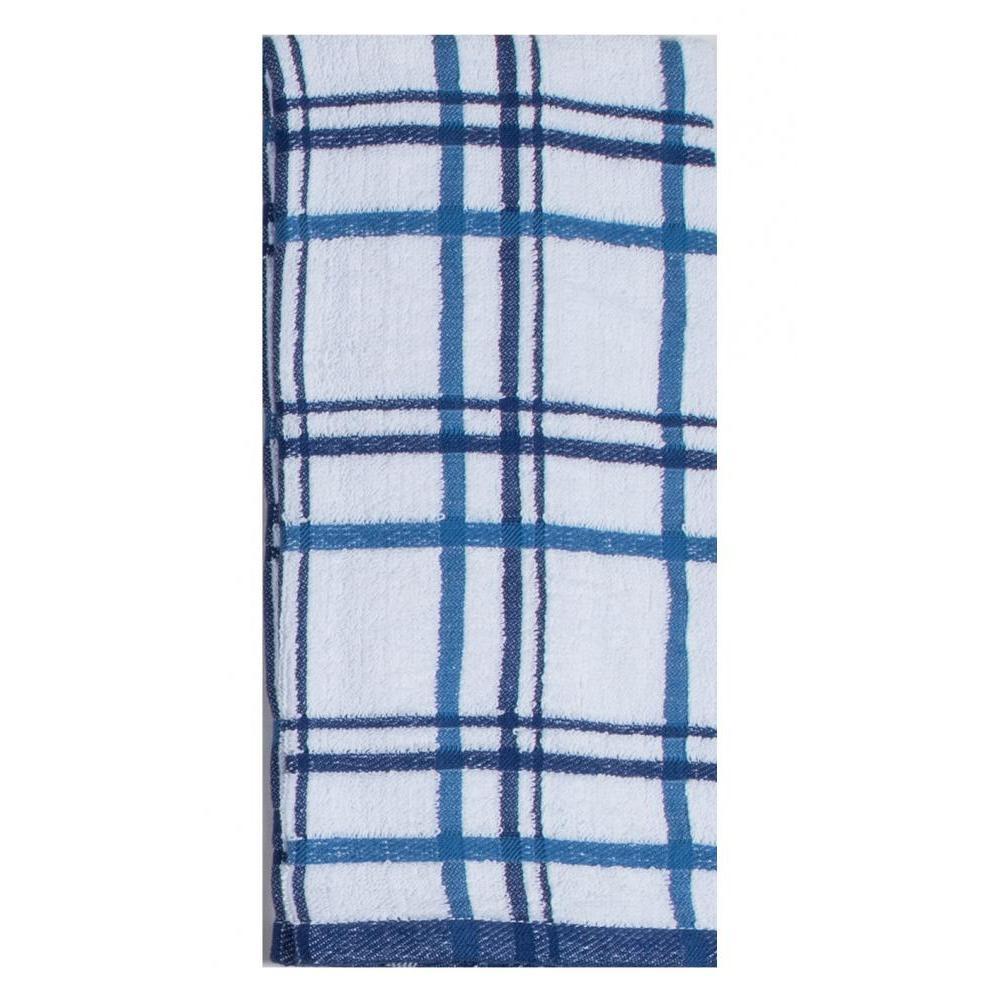 Towel - Terry Windowpane -indigo 2 Pk