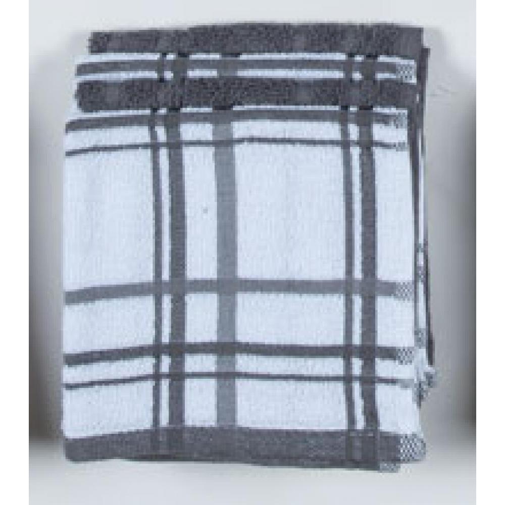 Dish Cloth - Charcoal Windowpane 4 Pk