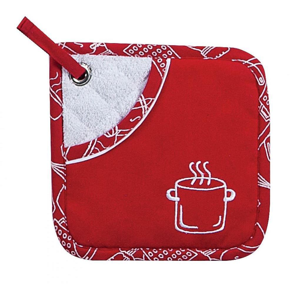 Oven Mitt - Red Pepper Pocket Embroidered