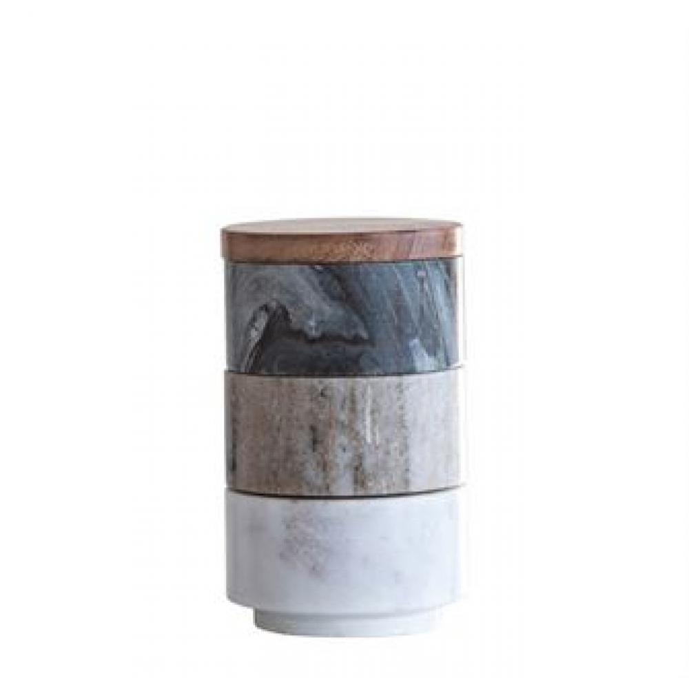 Pinch Pot Marble Stacking With Acacia wood Lid Set of 3
