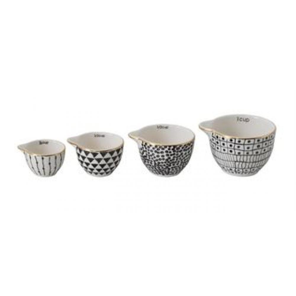 Measuring Cups Black Pattern & Gold Electroplating Set of 4