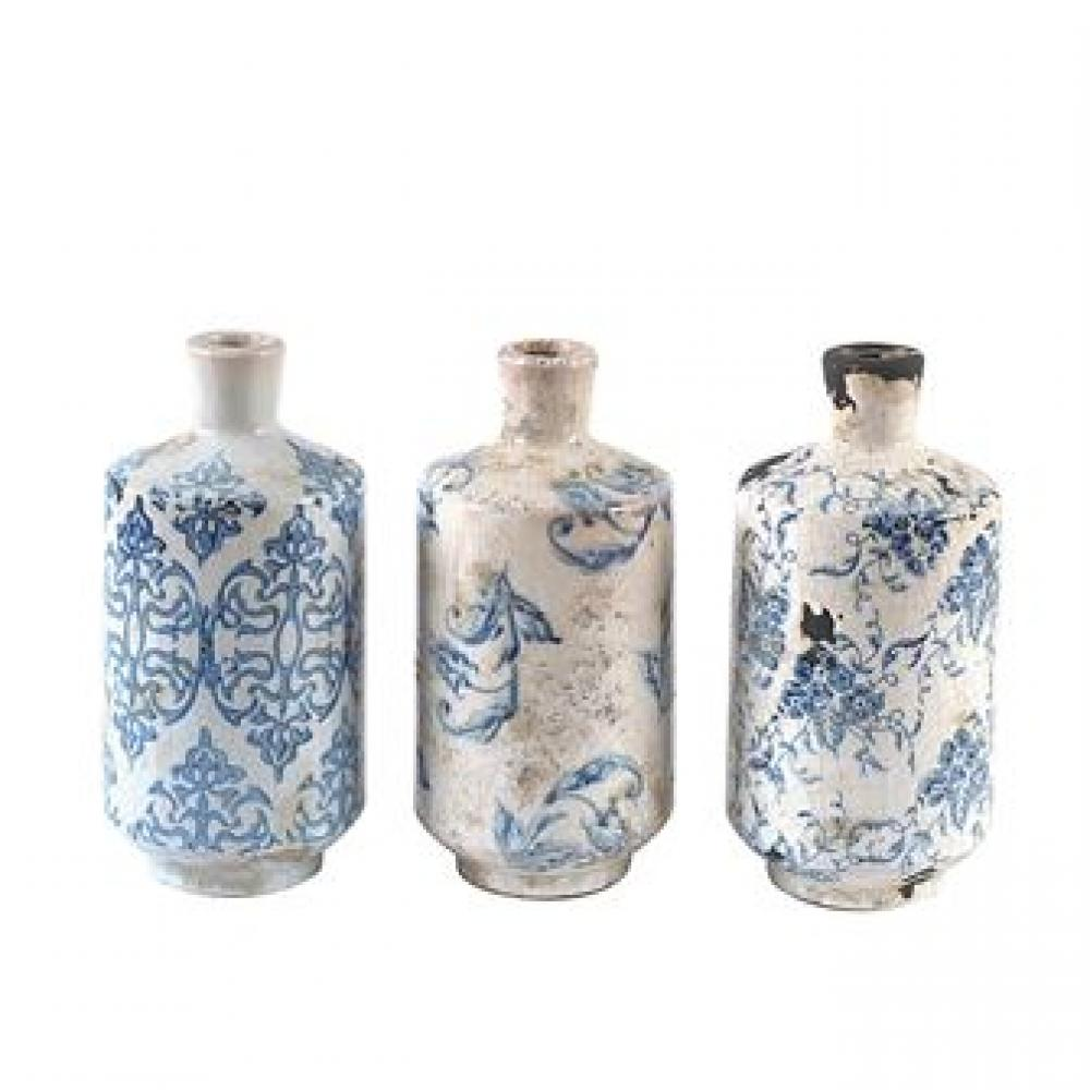 Vase - Terracotta Transferware Pattern Blue White 3 Styles