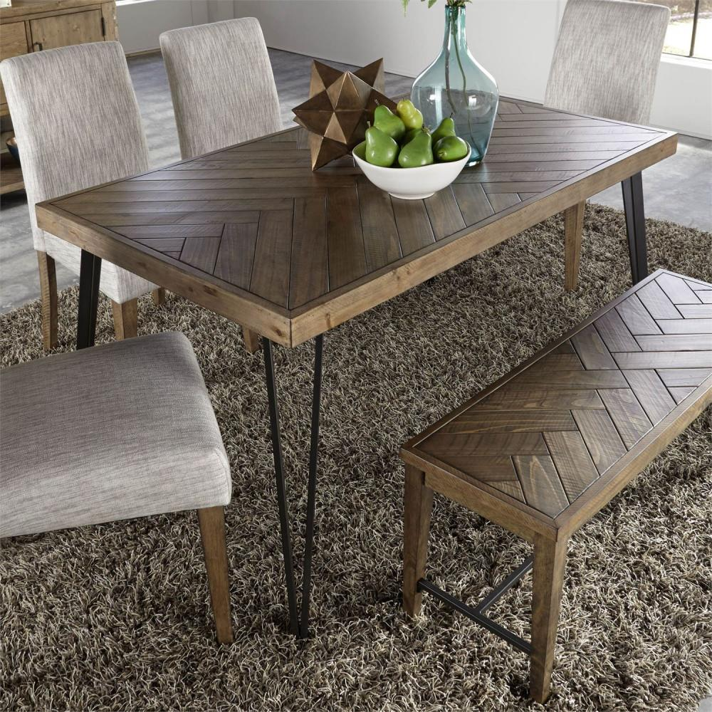 Horizons Rustic Caramel Rectangular Leg Dining Table