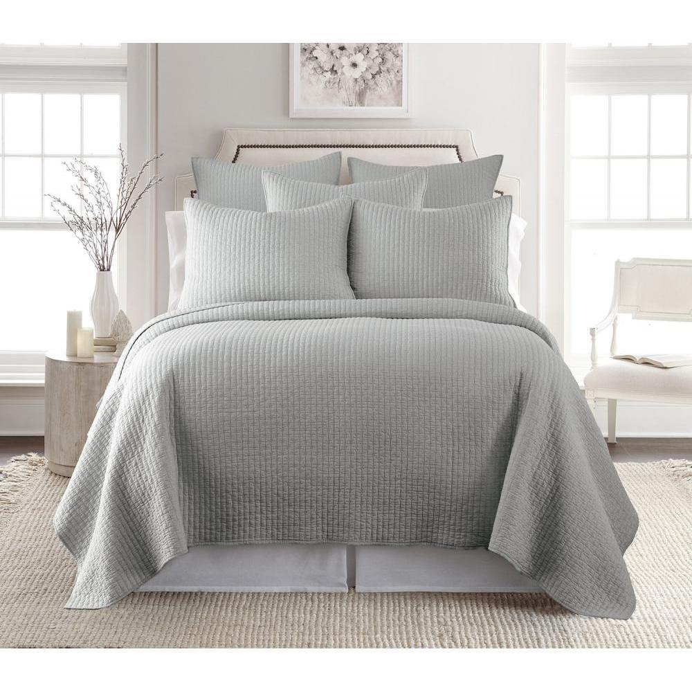 Cross Stitch Grey Quilt Set Full / Queen 88in x 92in