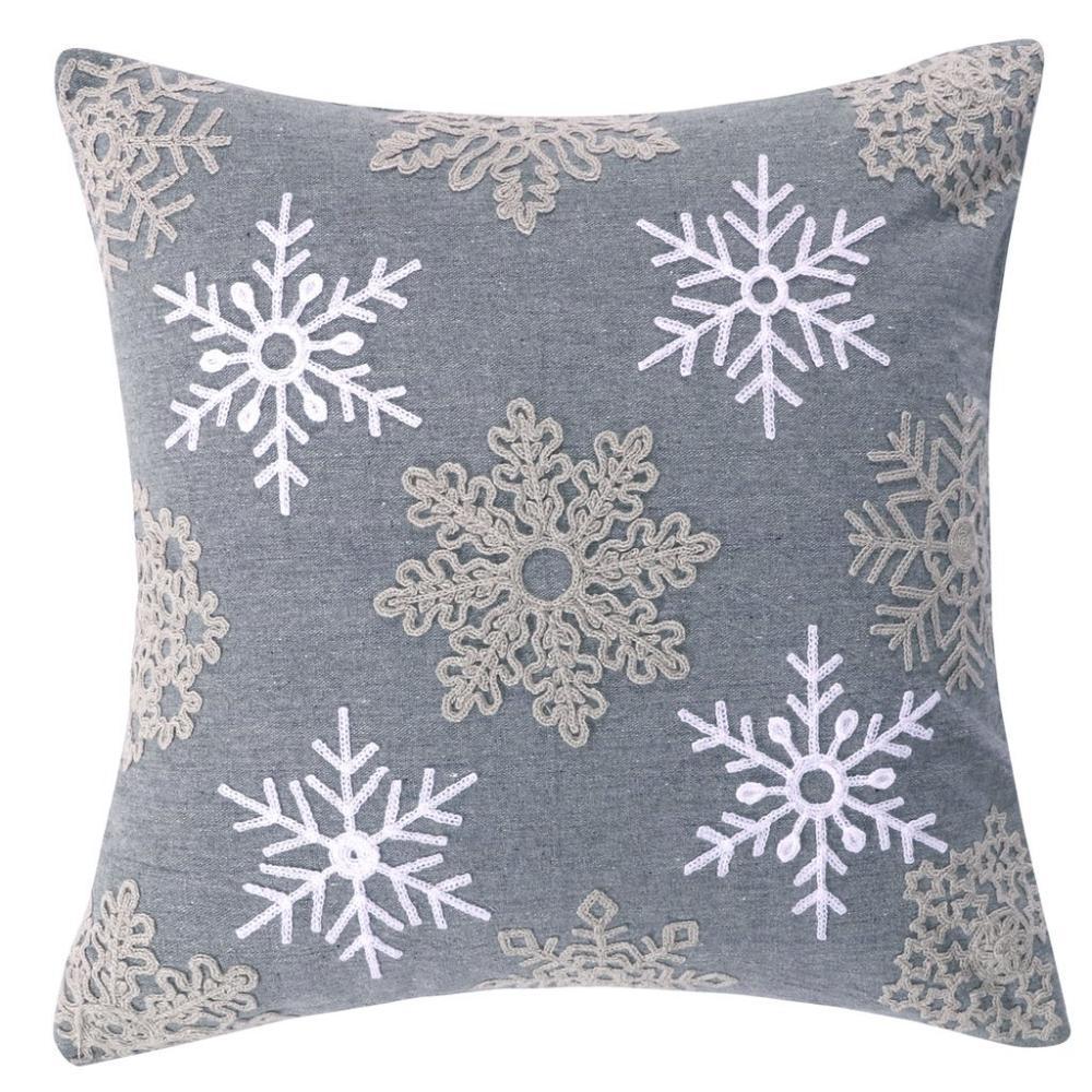 Rudolph Snowflake Grey Down Pillow