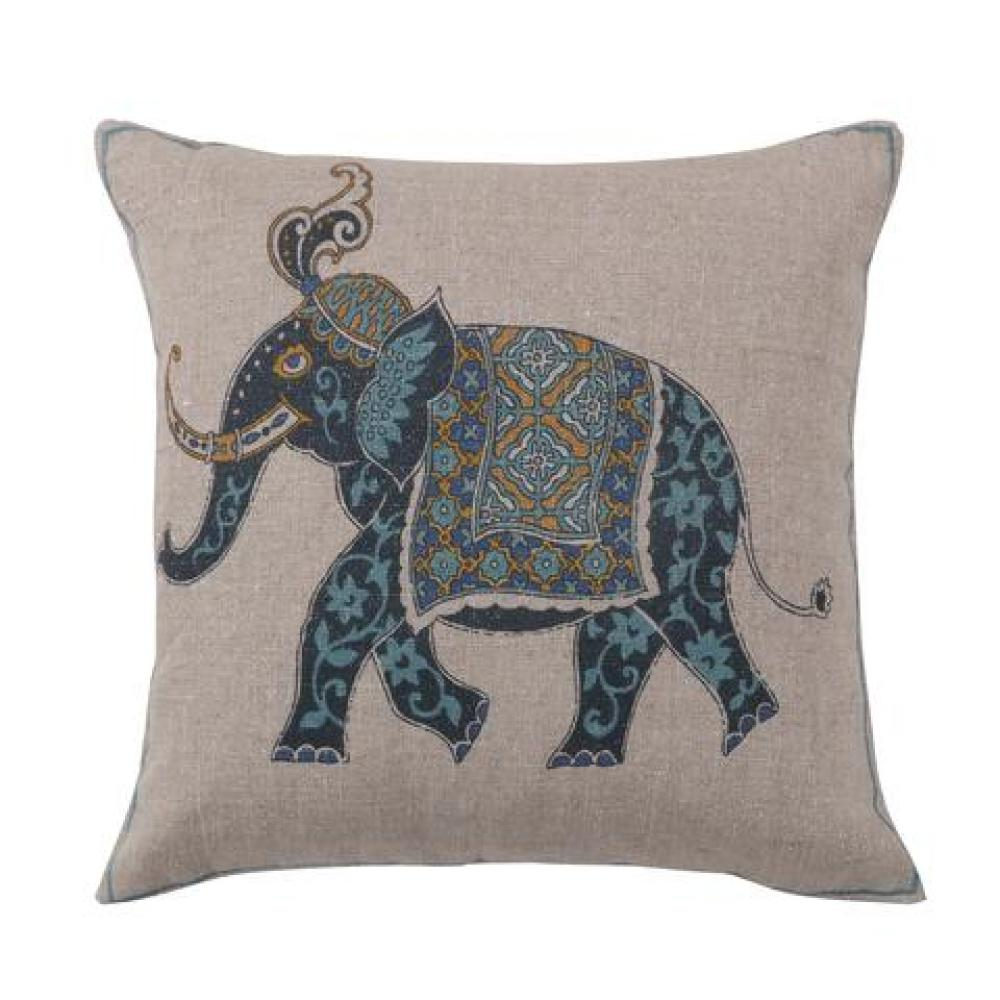 Chandra Elephant Indigo Teal Down Pillow