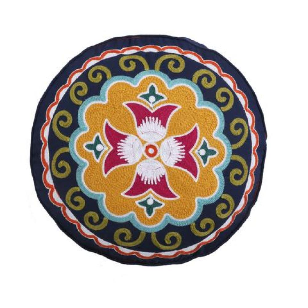 Amelie Round Embroidered Down Pillow