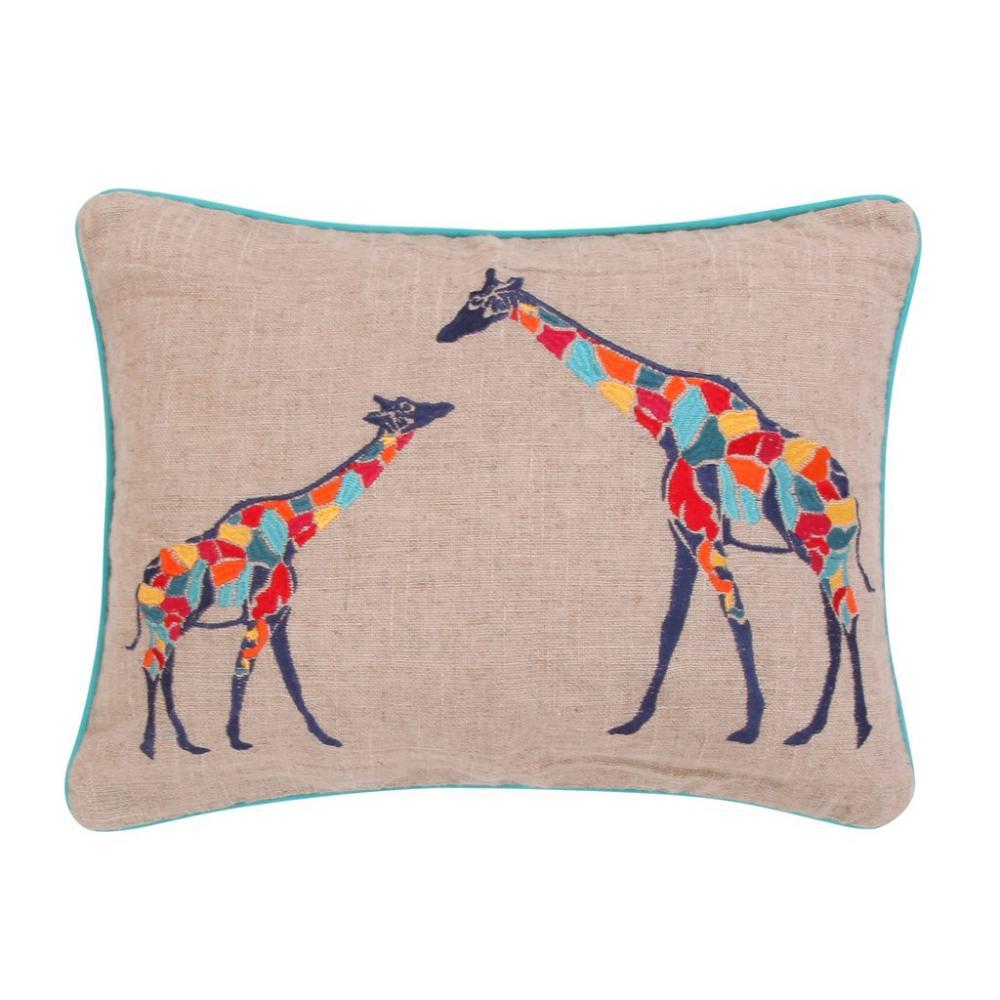 Mackenzie Giraffe Burlap Down Pillow