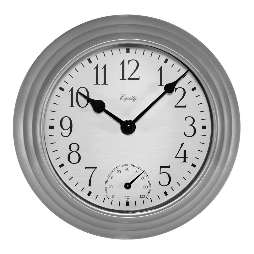 Indoor/Outdoor Wall Clock with Temperature