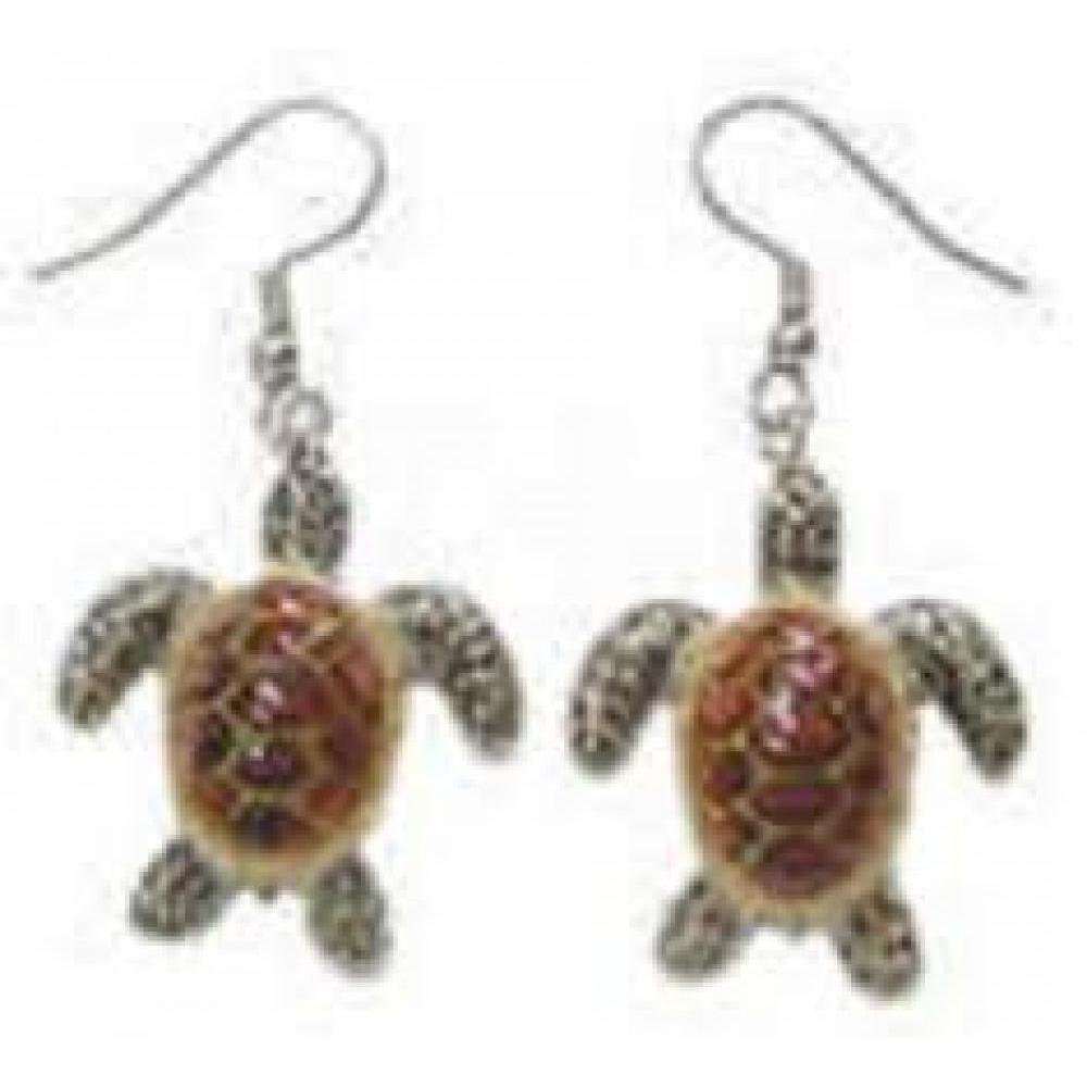 Hand Painted Porcelain Earrings - Sea Turtle