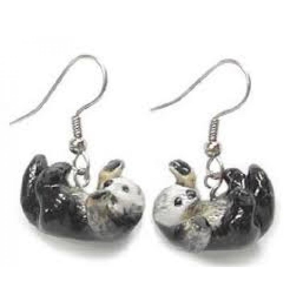 Hand Painted Porcelain Earrings - Sea Otter