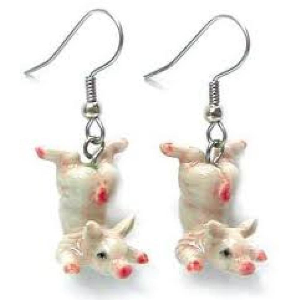Hand Painted Porcelain Earrings - Pink Pig