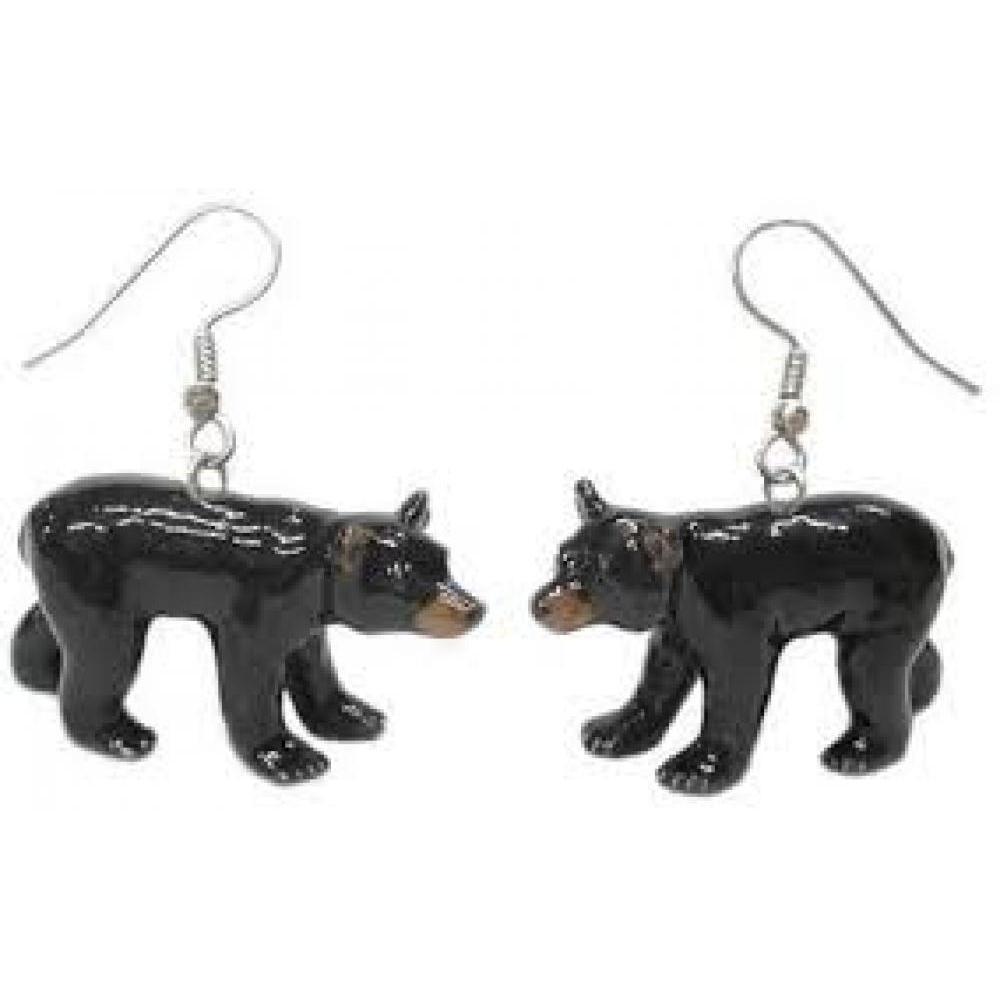 Hand Painted Porcelain Earrings - Black Bear