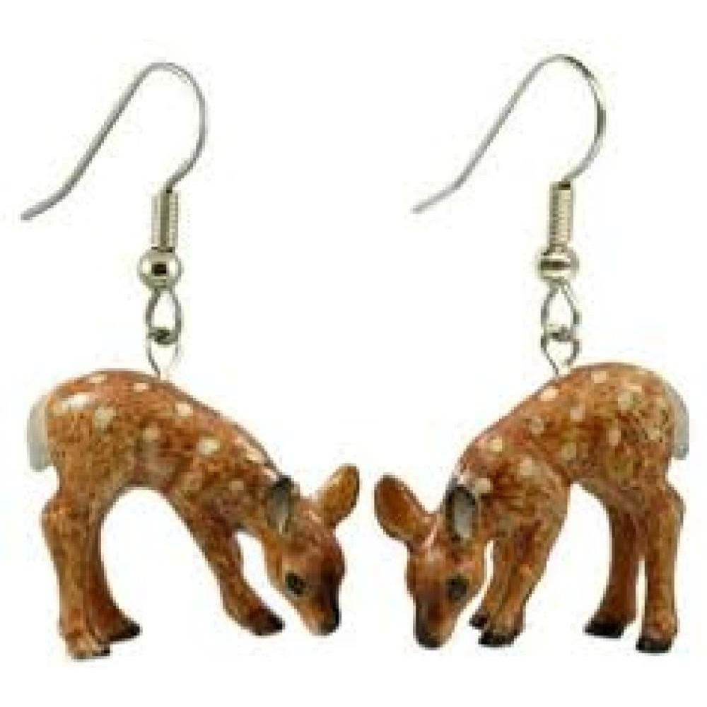 Hand Painted Porcelain Earrings - Deer Fawn