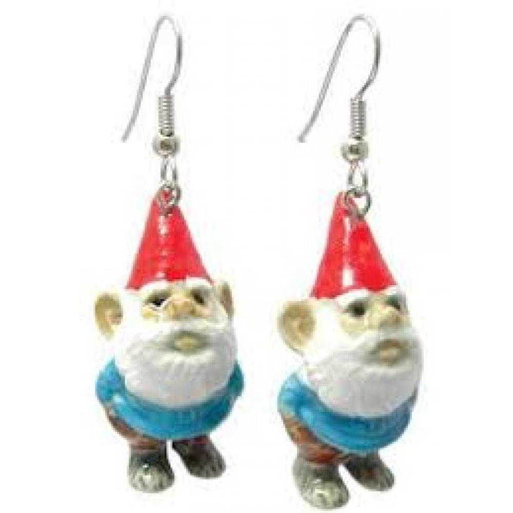 Hand Painted Porcelain Earrings - Gnome
