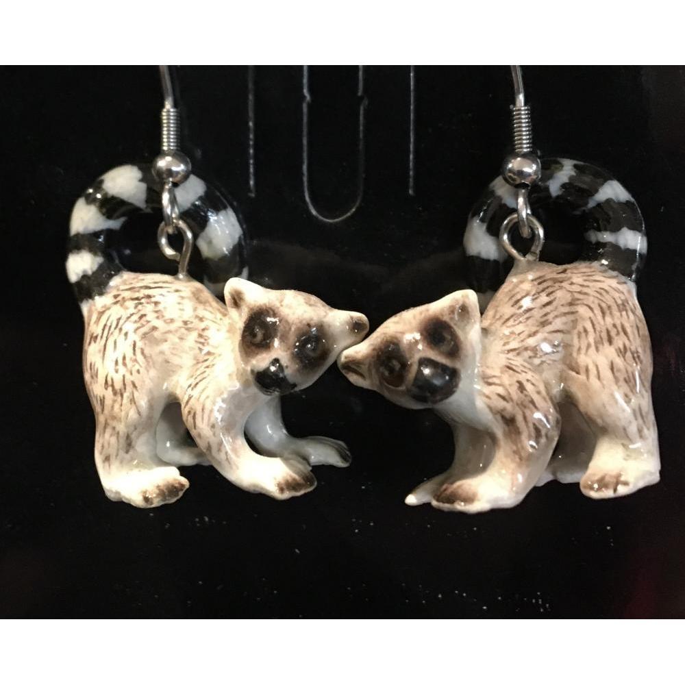 Hand Painted Porcelain Earrings - Lemur