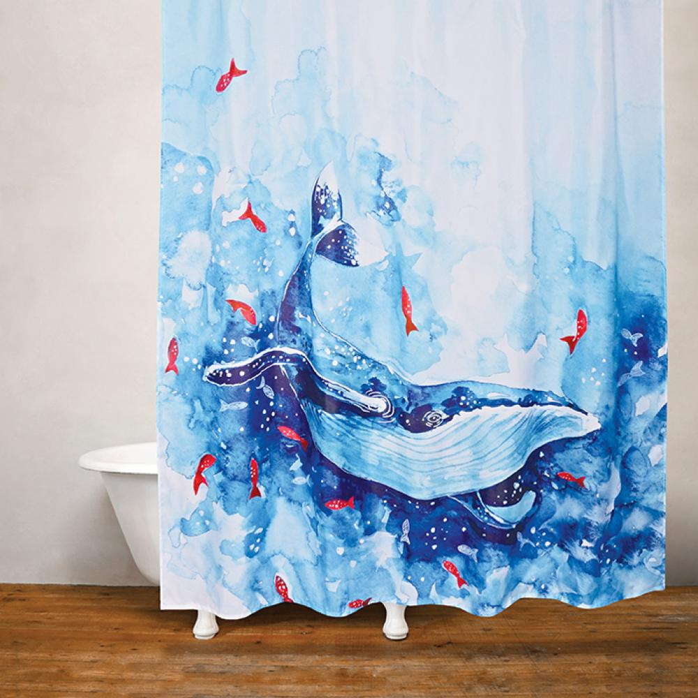 Shower Curtain Fabric Blue Whale