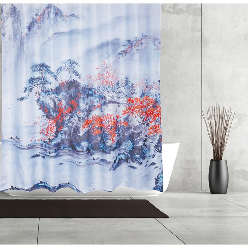 Shower Curtain Fabric Chinese Painting
